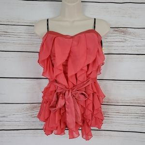 XOXO | Coral Strapless Ruffle Tie Waist Top